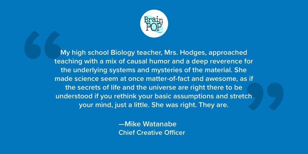 Wonderful words of gratitude from Chief Creative Officer @mikewatanabe. #TeacherAppreciationWeek #ThankATeacher