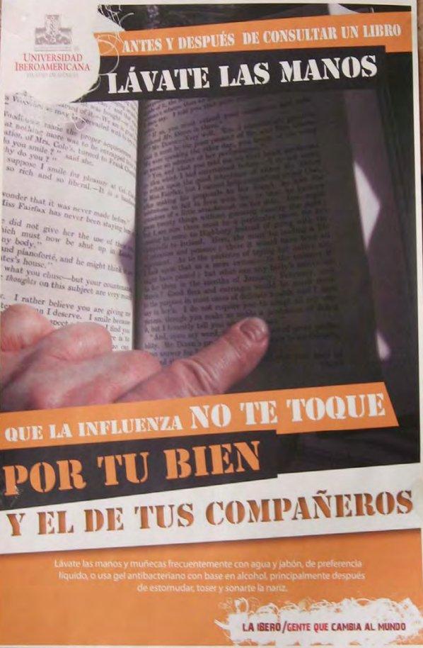 Antes de consultar un libro lávate las manos.  Póster de la Ibero en 2009 por la influenza. https://t.co/eQ4dertHjK
