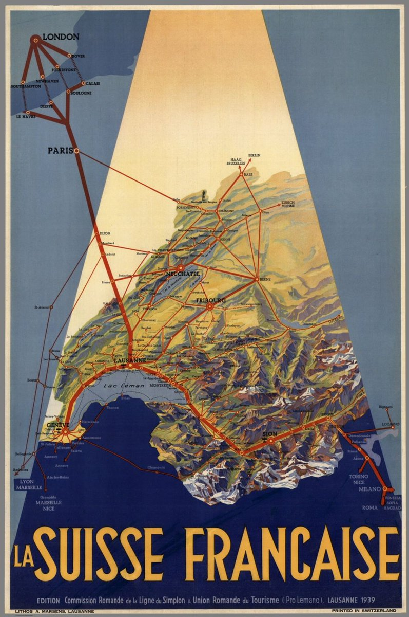 Wow, what a stylish map from 1939! Here we see the railroad connections of the French speaking part of Switzerland. I love how the connections to foreign cities are displayed. What a piece of art! Source: buff.ly/3bh3wP2