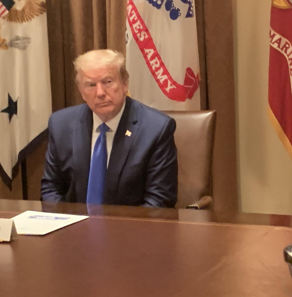 """""""Very, very productive meeting"""" with Joint Chiefs of Staff """"discussing various things,"""" says @POTUS in relatively terse remarks in @WhiteHouse Cabinet Room. Uncharacteristically he declines to take any questions from the media pool. (No one except journalists wearing masks). https://t.co/609v0hG6ZJ"""
