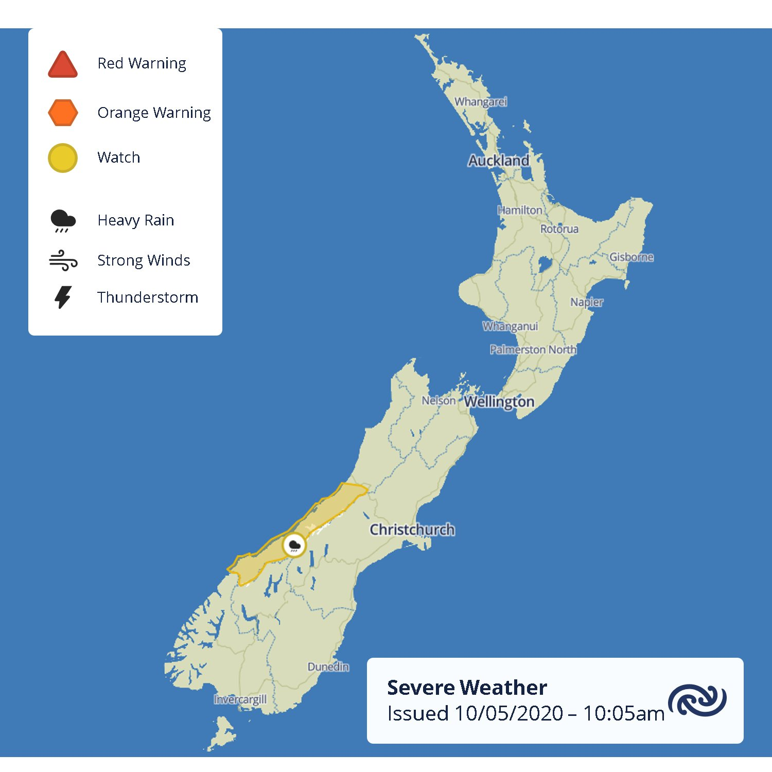A Watch is out for Westland as a cold front brings heavy rain from tomorrow afternoon. Keep up with the latest Severe Weather info at bit.ly/AllWarnings ^MM