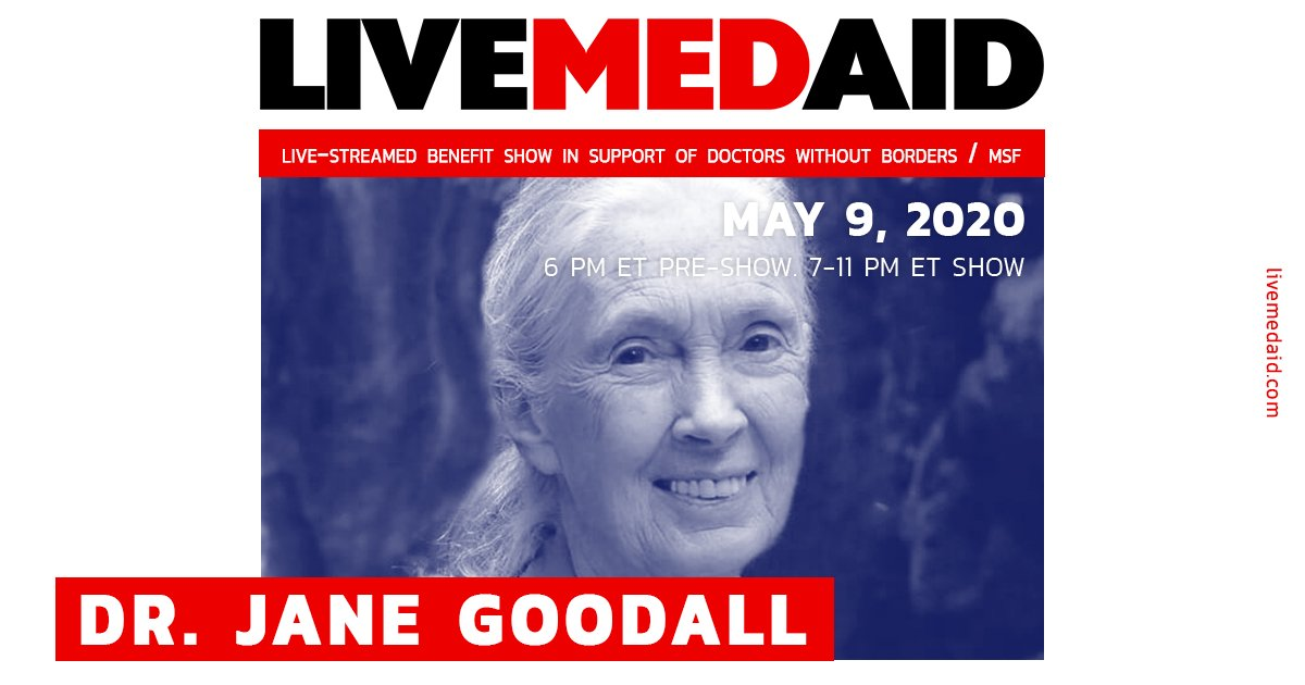 Dr. Jane Goodall is on LIVEMEDAID now as the scientific community comes together in support of Doctors Without Borders. 7-11 PM EST. #livemedaid  Watch on:  https://t.co/bOnTa0Bw36 https://t.co/oUNCex3oMr https://t.co/o97z8dbdeR https://t.co/IFJD3XMm7n https://t.co/dwhYBBcm9k