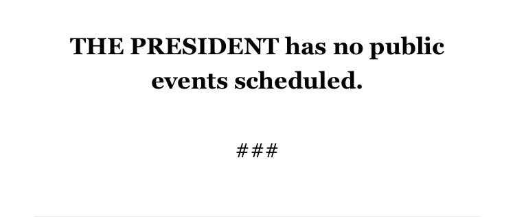 Sunday @POTUS schedule, as released by the @WhiteHouse. https://t.co/6ZCjME9FmN