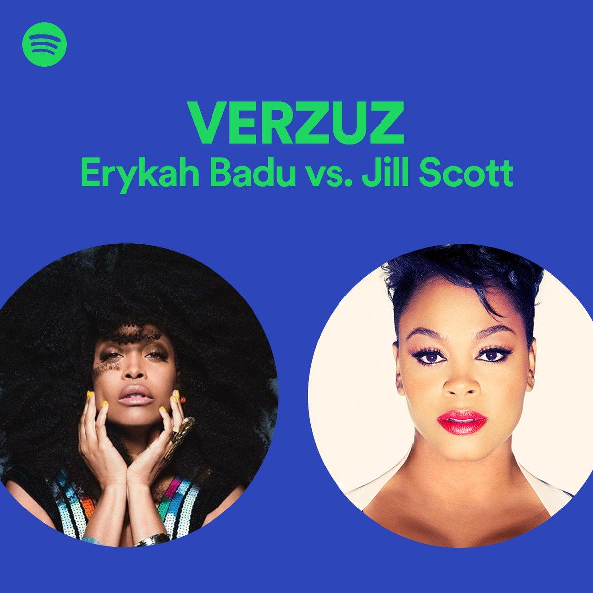 Two queens of R&B 👑 Erykah Badu vs. Jill Scott. The #Verzuz playlist. spoti.fi/ErykahvsJill 💚 @fatbellybella @missjillscott