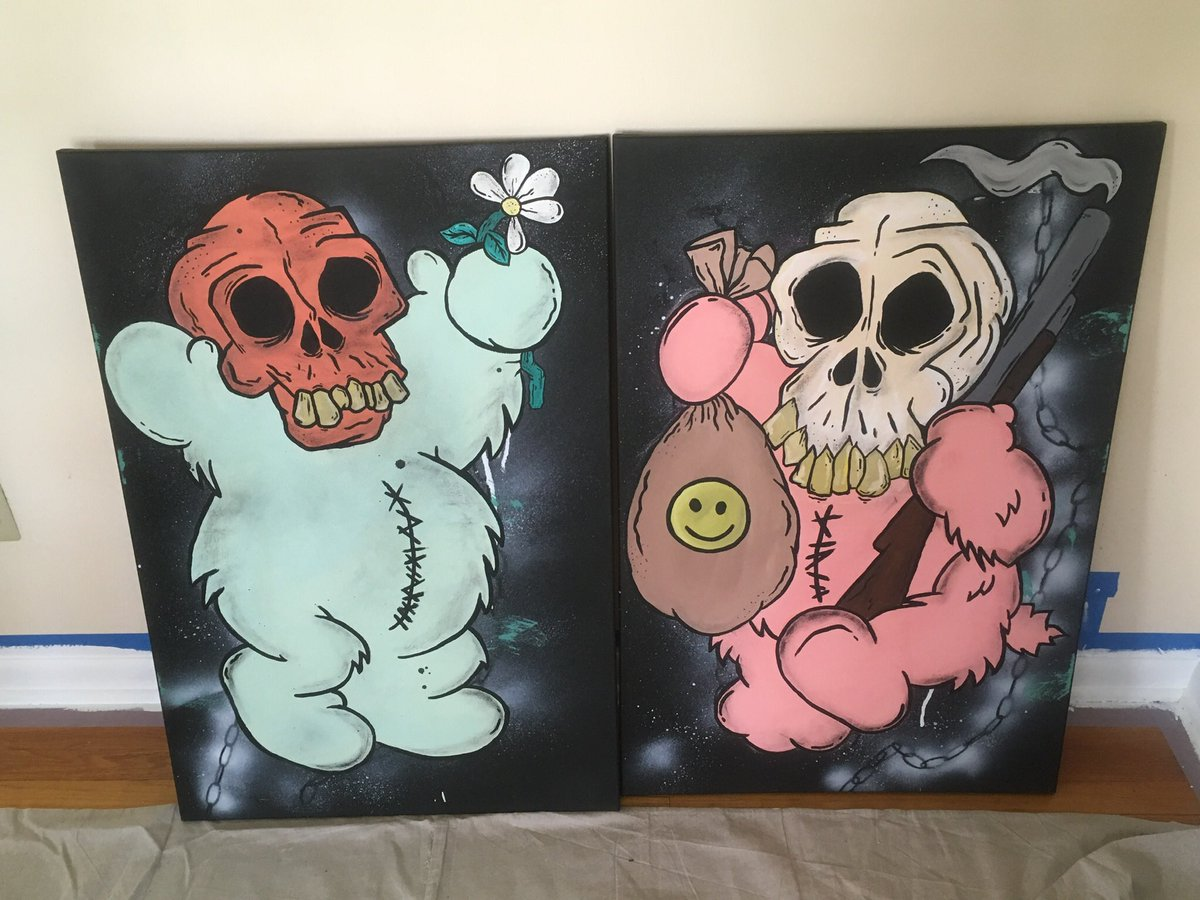 """I completed these two paintings earlier today... My """"mischief Twins"""" A visual representation of the sign of the times One offers a fading innocence with a optimistic point of view while the other offers happiness with a cost. 2020. #acrylic #acrylicpainting #spraypaint #oilpastel pic.twitter.com/1MJMqwwByG"""