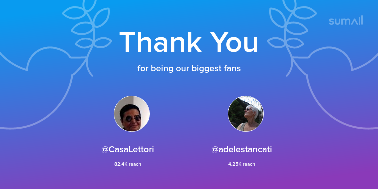 Our biggest fans this week: CasaLettori, adelestan...