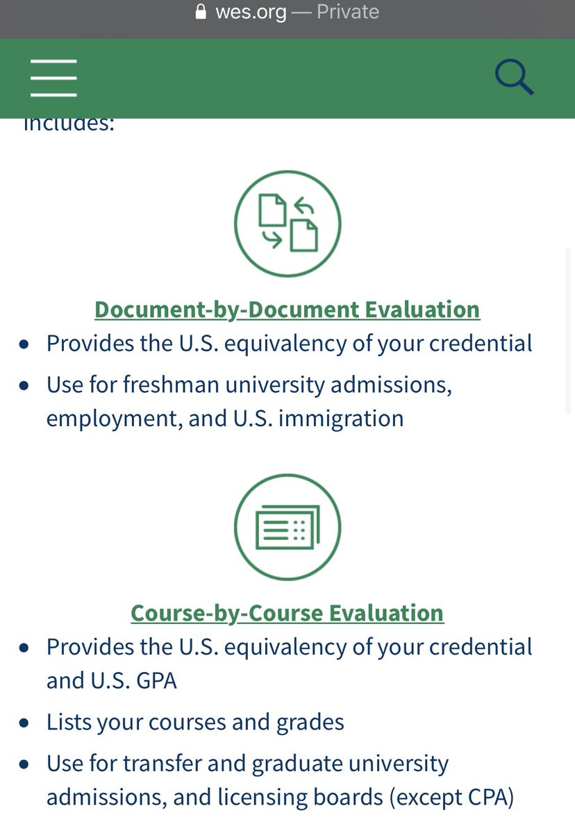 WES course by course evaluation