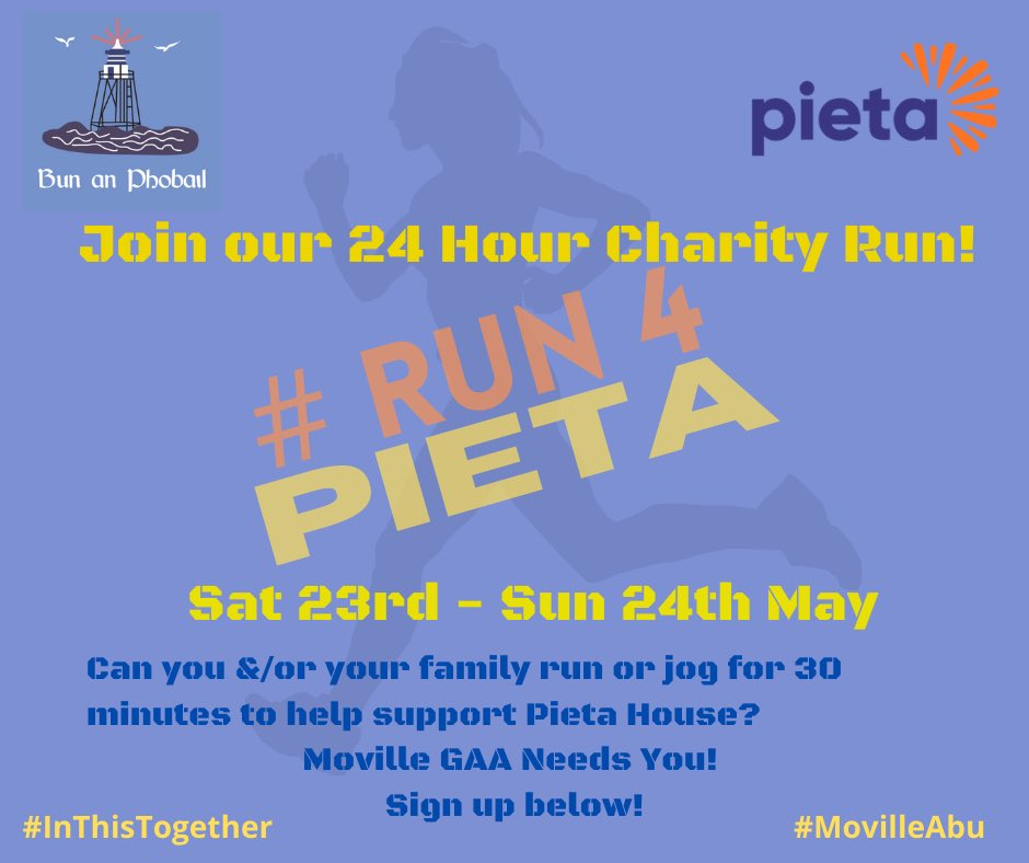 Come and join our #run4pieta on 23-24 May! Registration details attached. #InThisTogether #MovilleAbu 💙