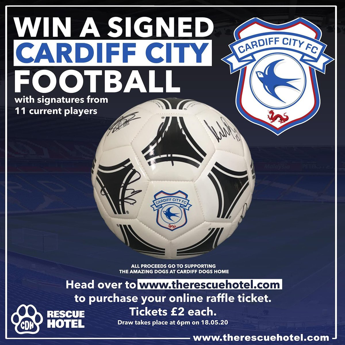 We currently have an online raffle, where you can win a signed @CardiffCityFC football. It is £2 per ticket, your ticket number will be emailed when purchased. 🐶please visit link in bio to enter Good luck, and please RT, all proceeds will go towards the pups and their care🐶