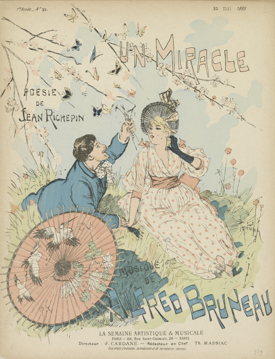 Does spring make your heart skip a beat? 🦋 On the cover of the sheet music for 'Un Miracle', the French artist Steinlen depicted two lovers, flirting under a blossoming tree. Is this music to your ears? 🎼 Check out our print website for more: vangogh.nl/9VRR50zrzQo