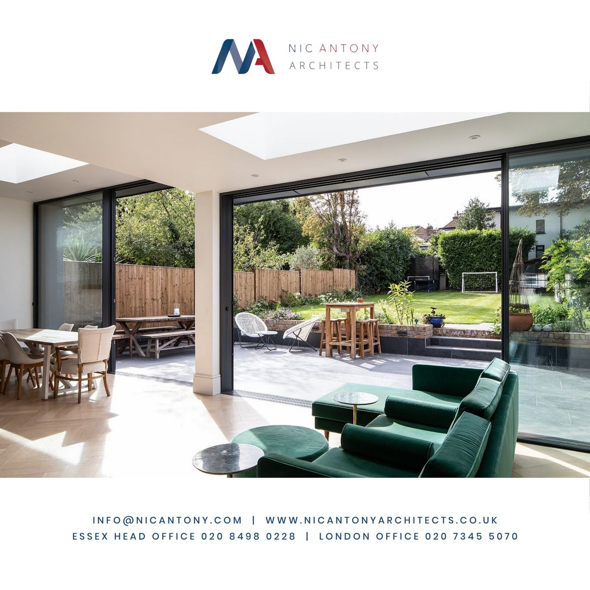 Natural light with large glazed patio doors and flat openable roof lights provide good natural light and ventilation. . . #essex #london #buckhursthill #loughton #chigwell #loughtonmums #woodfordgreen #wanstead #architecture #design #interiordesign #property #propertydevelopment
