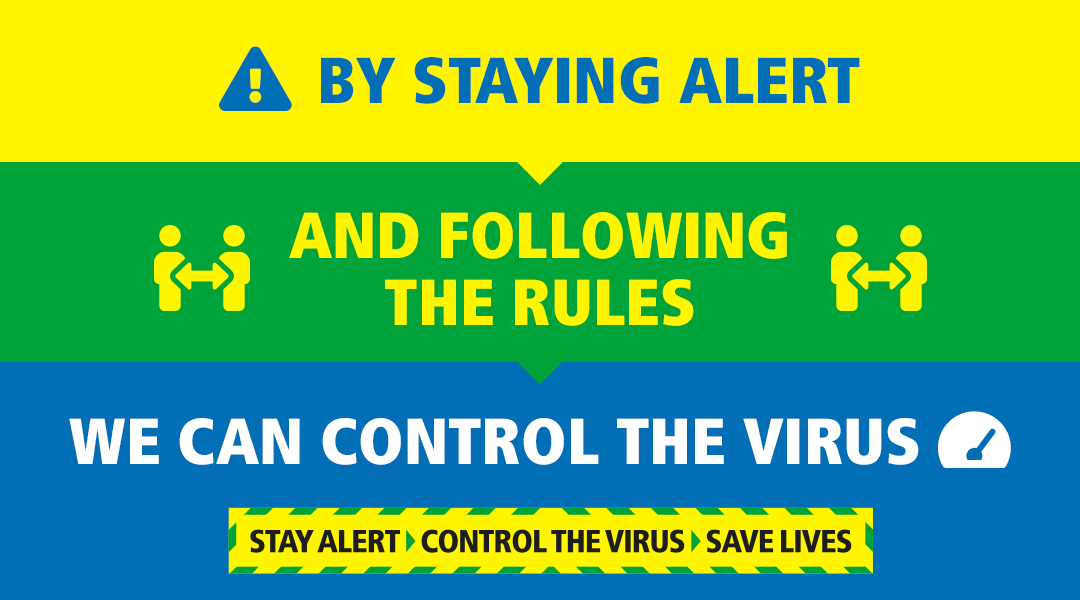 Text: By staying alert, and following the rules, we can control the virus.