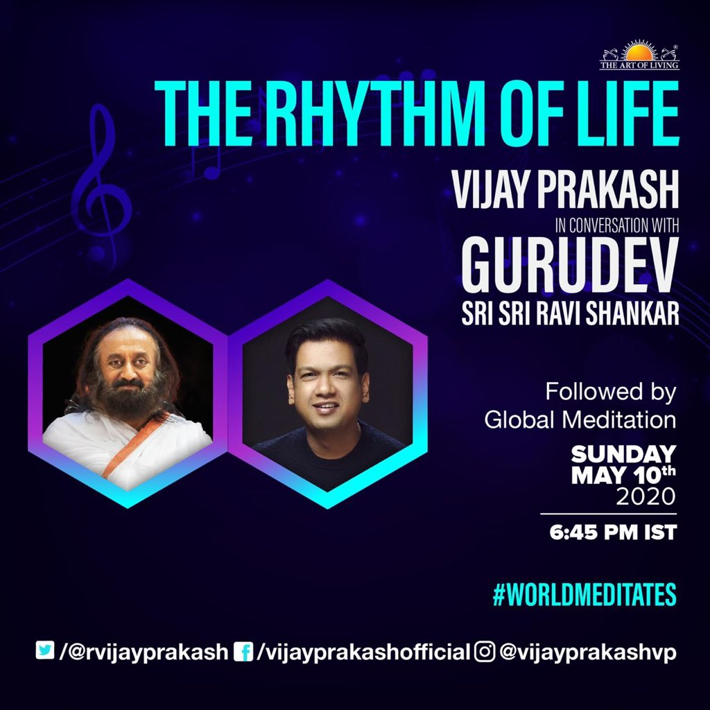 At 6.45 pm today I'll be speaking to Gurudev @SriSri . Kindly join me . 🙏🏻