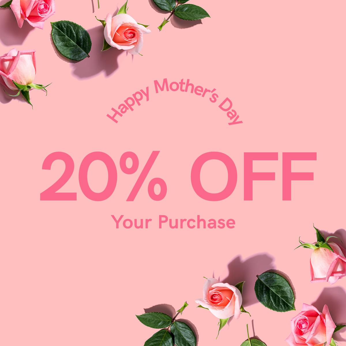 Happy Mother's Day! Celebrate moms everywhere with 20% off your purchase through midnight tonight ❤   Shop Now: https://t.co/stsIsQkZWE https://t.co/qHYEVkUwZT