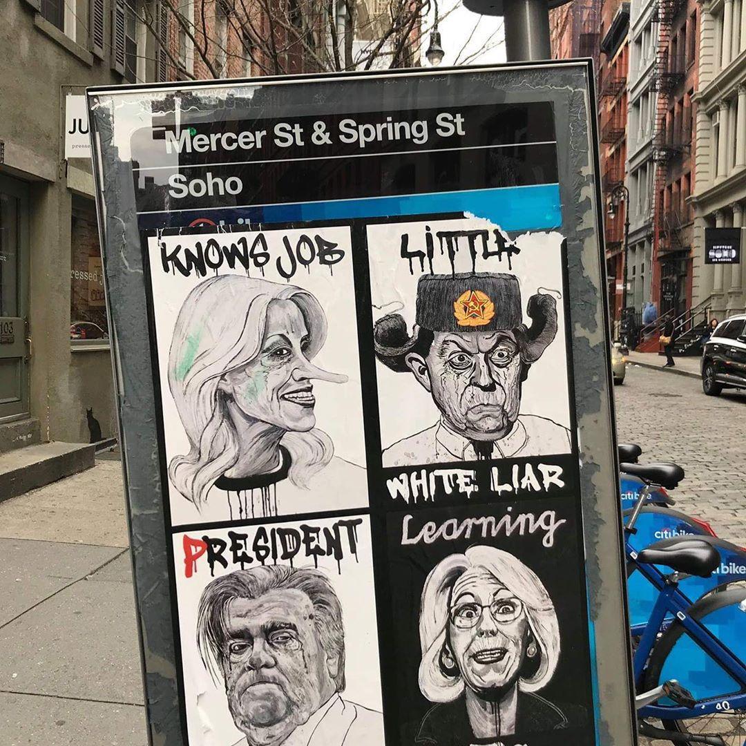 @funworshiper WHITE (Lies) MATTER. #whiteliesmatter #funnystreetart #trumpcartoons #kellyconway #nycstreet #weirdcartoons #phonebooths #funworship #funworshiperpic.twitter.com/y5szKVdpYo