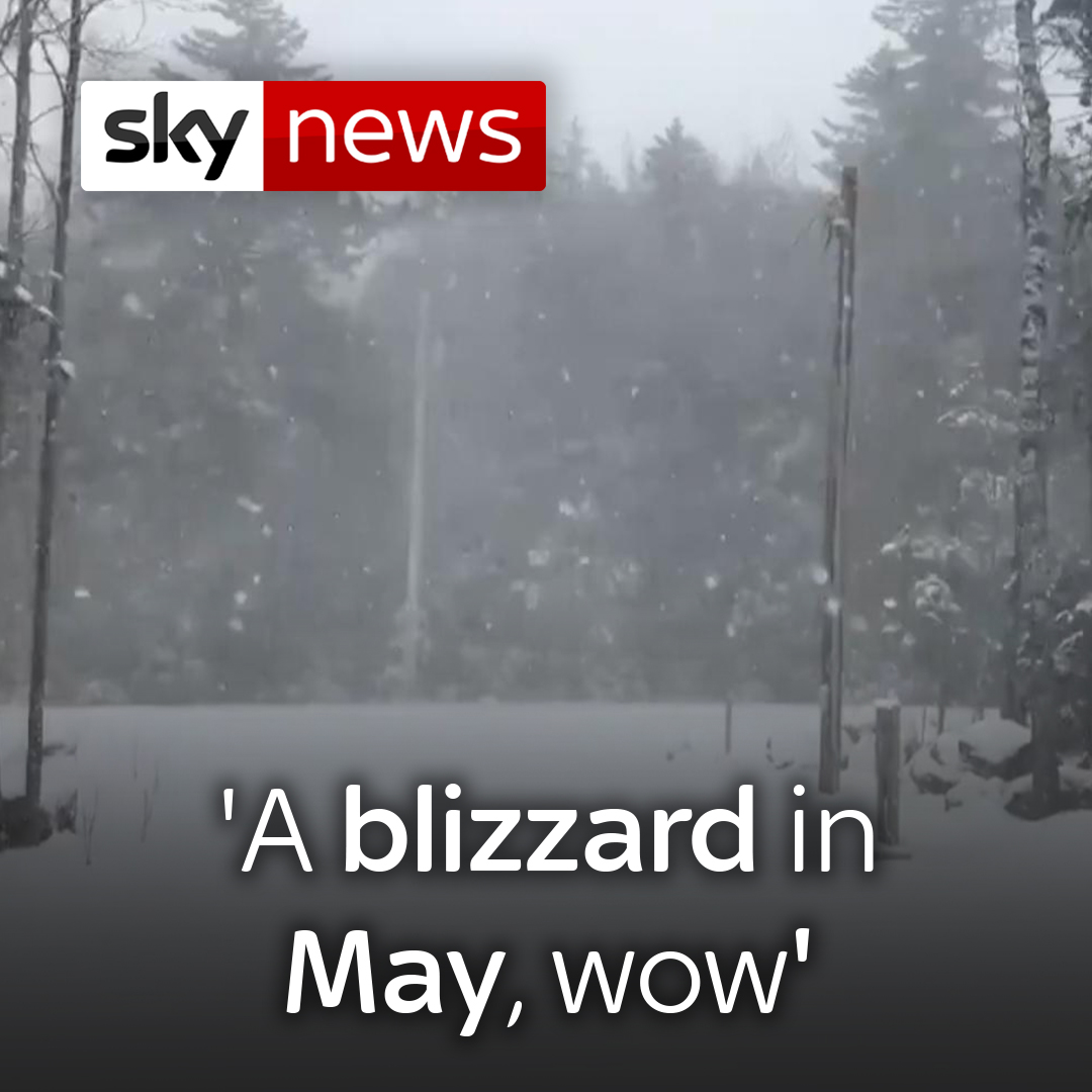 A blizzard in May, wow. This is crazy! A polar vortex has brought with it rare winter weather conditions to the northeast of the US ❄ For the latest videos, visit 👉 news.sky.com/videos