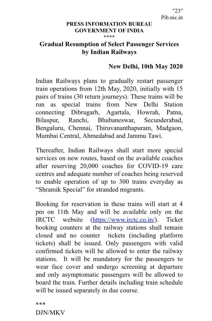 Passenger trains to start running 12 May; online bookings begin Monday