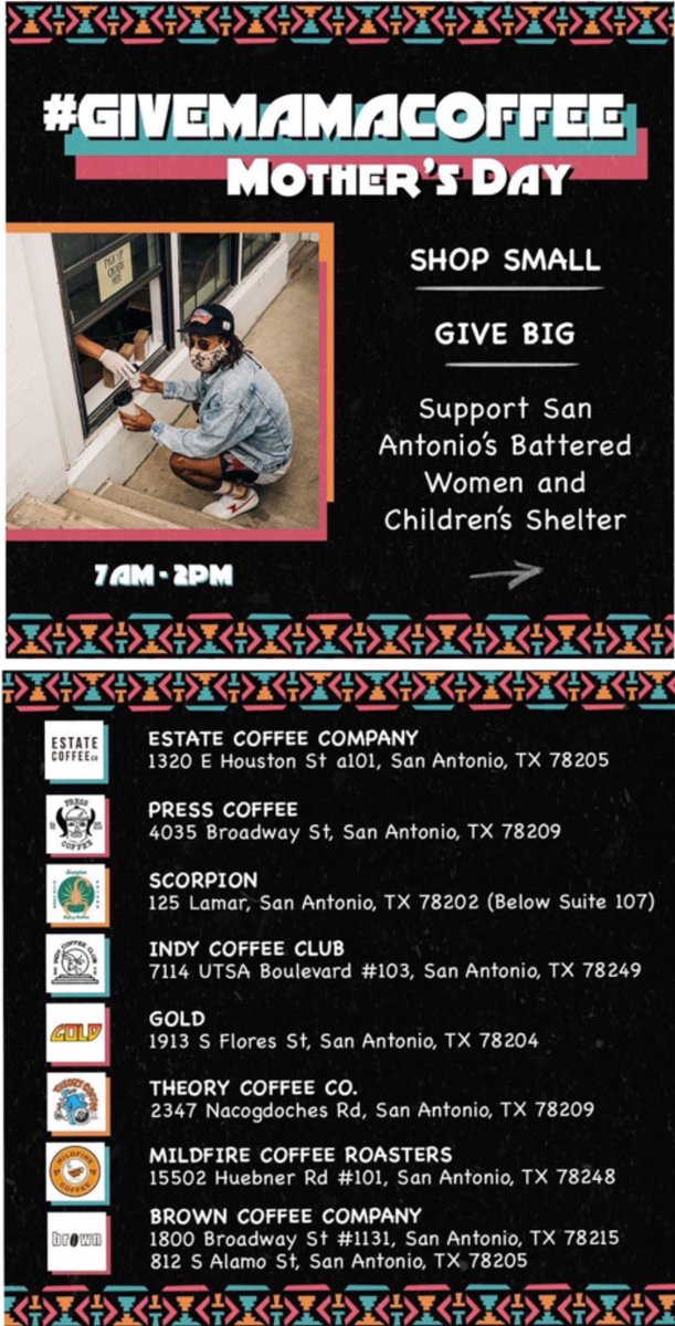 Visit any of these 8 San Antonio coffee shops until 2 p.m. today and Patty Mills will double all proceeds and donate to Family Violence Prevention Services.  Shop local, support a great cause and get Mom a coffee for Mother's Day! #GiveMamaCoffee https://t.co/lo2XtNgWwe