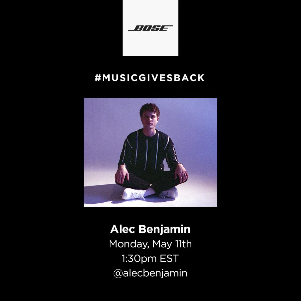 This week, we have some big names joining us on IG Live for #MusicGivesBack — starting tomorrow with singer-songwriter @AlecBenjamin ! Tune in, hang out, and learn something new, while we donate to @_MealsOnWheels in his name.   Stay tuned for more artist announcements this week. https://t.co/IDRpGcoSVQ