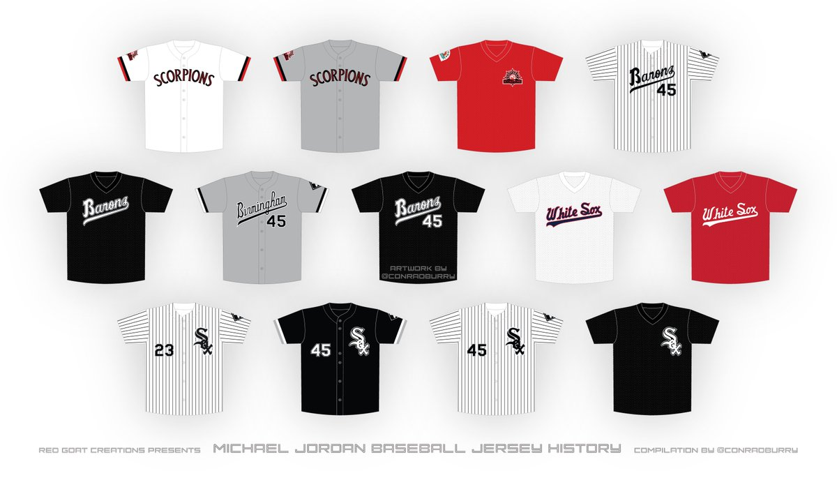 And for this weeks installment of Jordan Jersey History related to #TheLastDance episode(s): my compilation of MJs baseball jerseys that he wore for the @MLBazFallLeague #ScottsdaleScorpions, @BhamBarons and @whitesox.