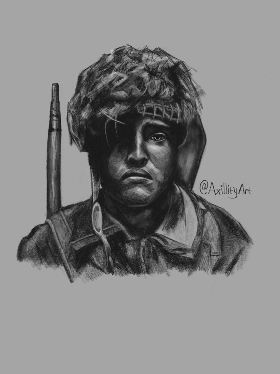 Here's a drawing I finished today. It's of a character from the movie Pegasus Bridge (set in 1944). I've been enjoying sketching more and more recently.   Tags - #sketch #drawing #ww2drawing #ww2art #sketchdrawing #procreate #procreatedrawing #contrast #highlight  #gunart #warart