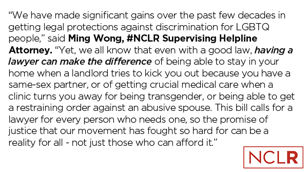 #NCLR's statement on the need for #CivilGideon from our Supervising Helpline Attorney, Ming Wong.
