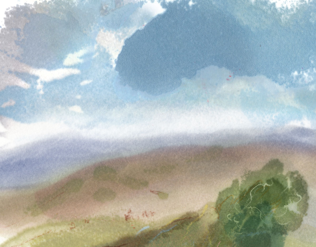 Todays sketch, out the back of the cottage. #northyorkshire #landscapeart