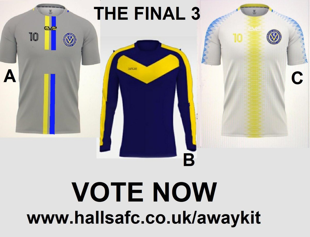 test Twitter Media - Voting time..... #AwayKitComp The final 3.... every Halls player gets ONE vote https://t.co/a5iiIx7WJf (open for 7 days only) https://t.co/IUejo8PWbv