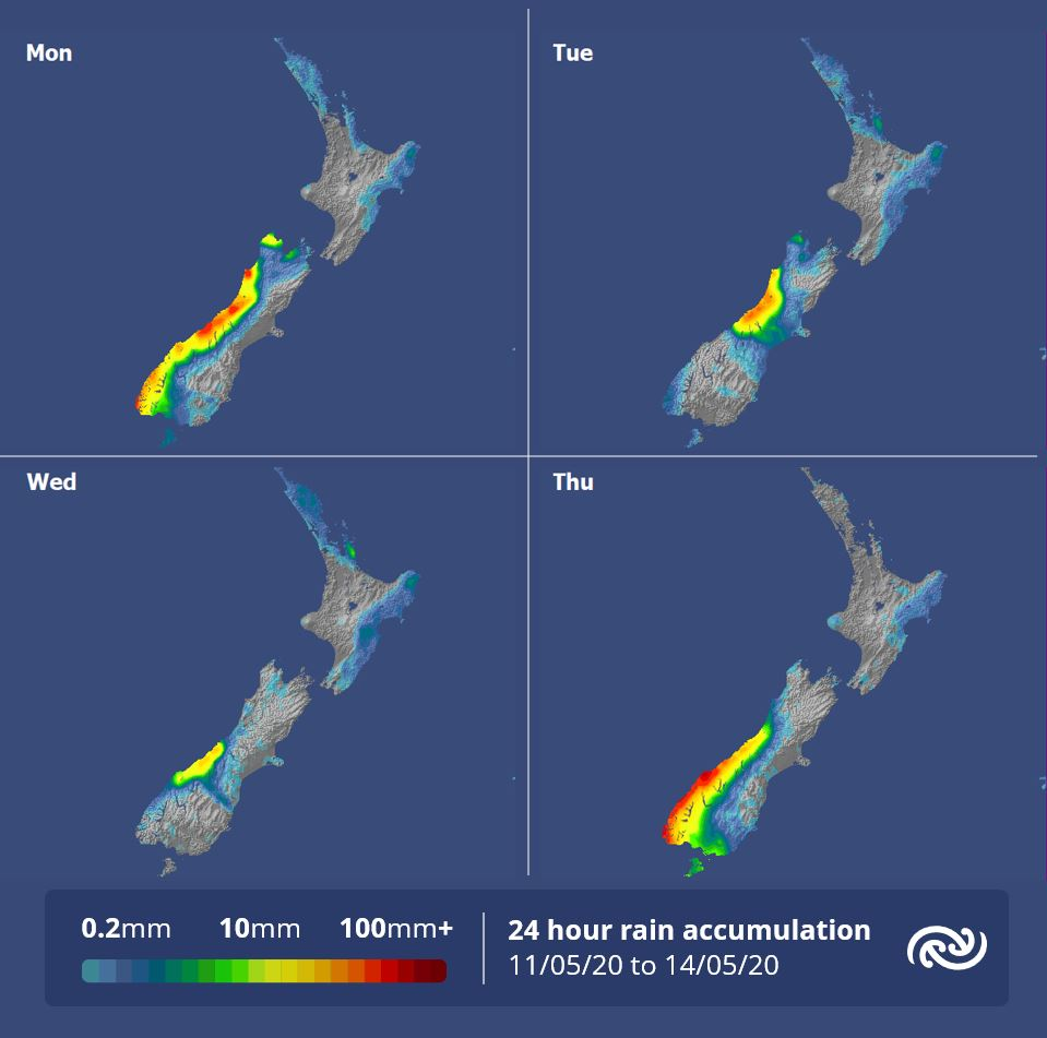 As the rain accumulation shows the theme of 'wet at times in western South Island, mainly dry elsewhere' remains until Friday when a front is forecast to finally push north of Cook Strait. For more details on the weather in your corner of NZ metservice.com ^AC