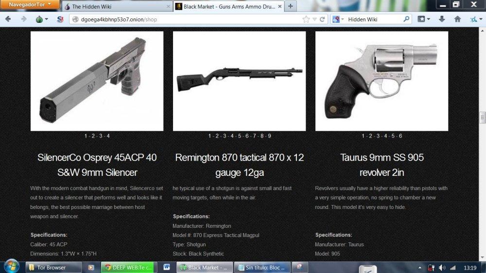 продажа оружия в браузере тор гирда