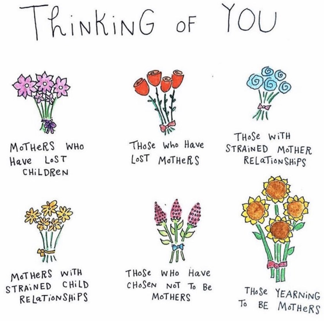 Mother's Day can be hard for some but is also an opportunity to spread love and connection. Make sure to cherish both mothers and children alike. The currency of this holiday is consideration, and practicing that empathy on all of your loved ones is important. Art @bymariandrew