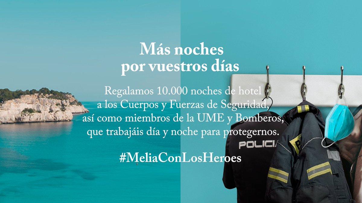 Queremos agradecer a las Fuerzas y Cuerpos de Seguridad, @UMEgob y Bomberos de España ejemplo de dedicación y responsabilidad que nos están dando, cuidando de nosotros en estos momentos y ofrecerles 10.000 noches en nuestros hoteles. > https://t.co/ZxufXwcpuC #MeliáConLosHéroes https://t.co/KfJMpVjqzn