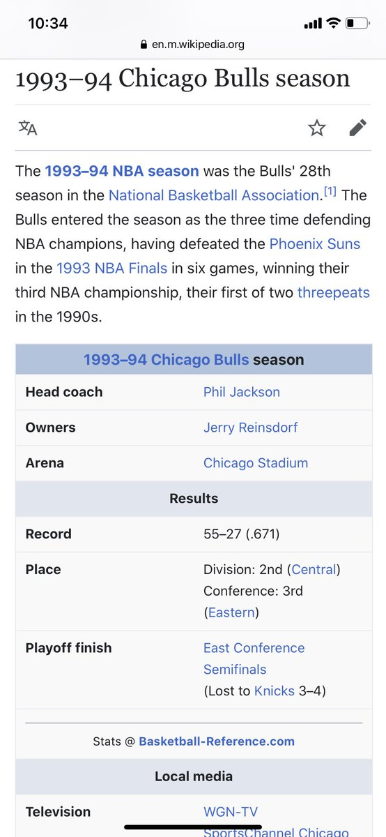 @Young_Slay2 MJ retired after winning the championship in 93... The season after was the 93-94 season. 94 usually comes after 93 I think. Michael Jordan did NOT play this year. Which is the FIRST year the Bulls were without him. I'm going to ask again. They didn't make it to conference semis?