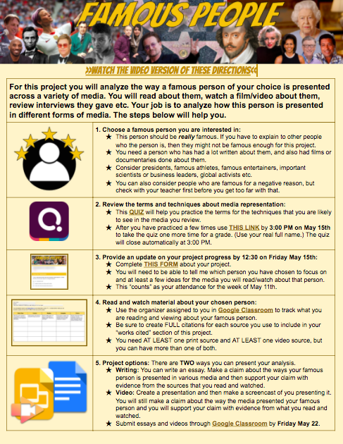 My students start their famous people analysis project tomorrow. If you are an ELA teacher and you want me to blog about this project so you can use it too please let me know. If I get five requests Ill blog it out tomorrow. #caedchat #2ndaryela #distancelearning #GoogleEdu