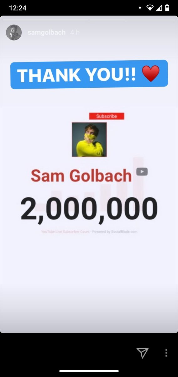 So proud of you!!!!!! You deserve this and more, love you 💕💕💕💕 @SamGolbach @SamandColby #2million #samandcolbyathome #SamandColby