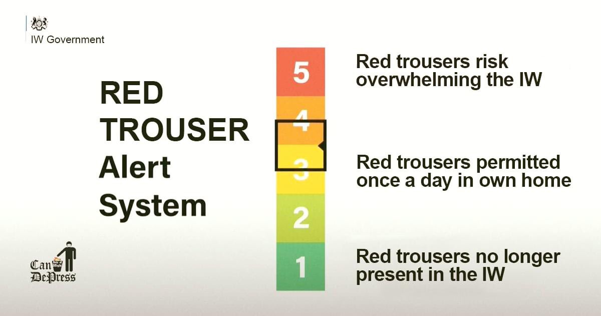 New Red Trouser alert system announced  Stay Alert >> Control the Trews #iwnews https://t.co/LiC6gs0rZz