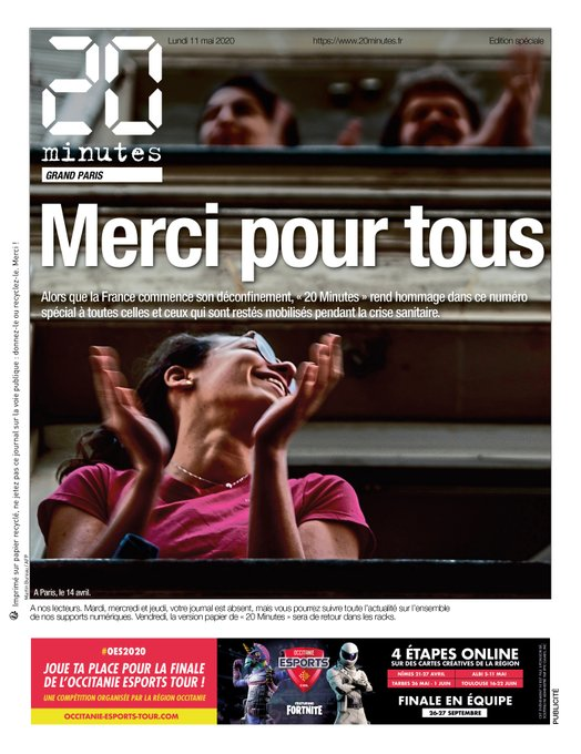 """A mix of gratitude, nostalgia, and uncertainty in the French papers today as they mark #deconfinementjour1  The country is leaving the routine of lockdown to - as Libé puts it - """"return to abnormal"""" #11mai #F24 @helenef24<br>http://pic.twitter.com/A8UyJGSUqt"""