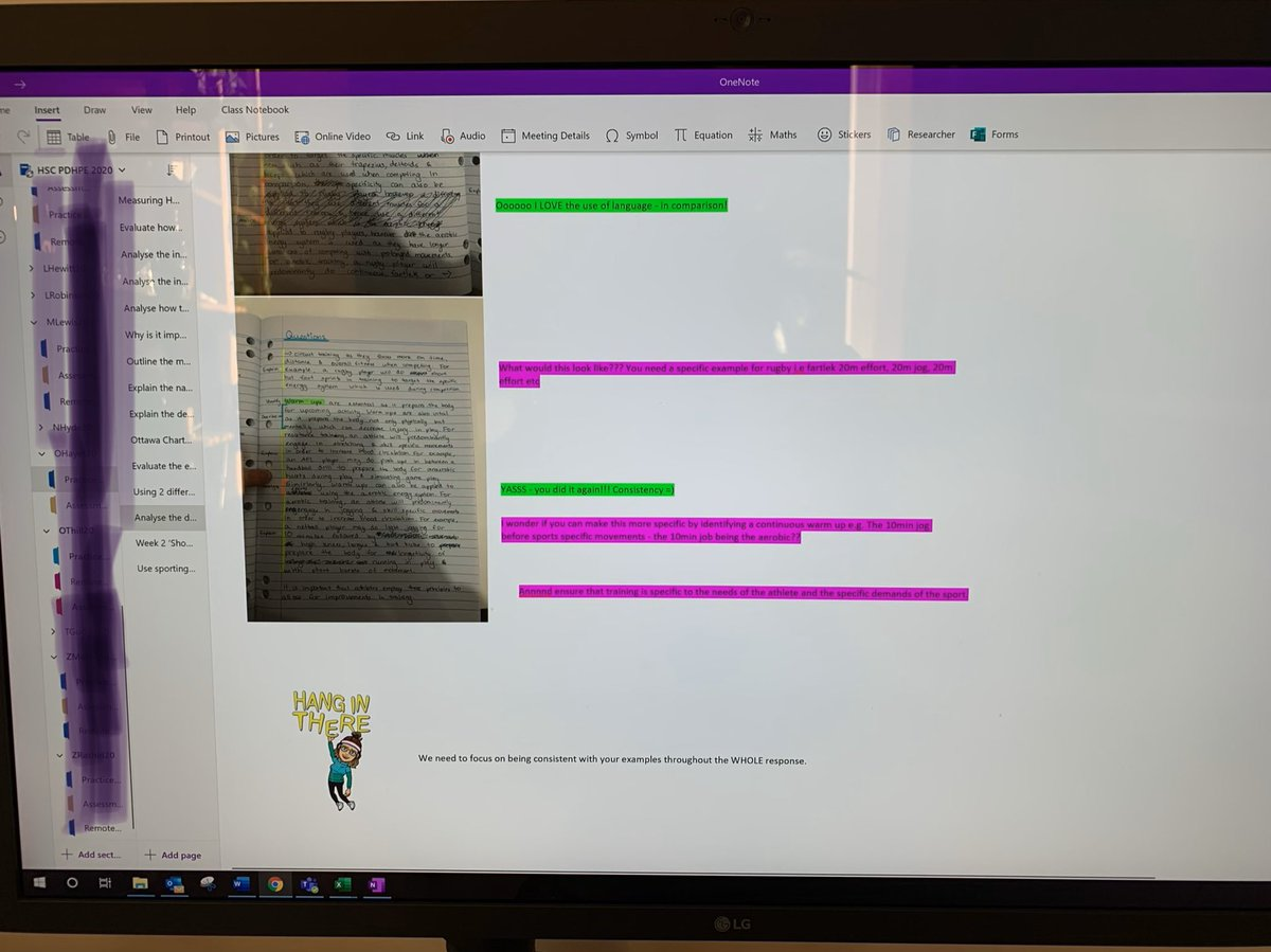I've been doing this for a while but #feedback in colours is great for students self checking as the write and me as I formatively assess then think/pink from me for future steps #colorcode #feedback #bitmoji onenote makes it so much easier! https://t.co/JV6HHIfka1