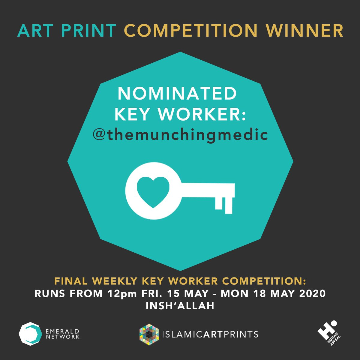Announcing the winner of our #instagram #keyworker competition of #artoframadan print ... @munching_medic ! Lookout for the final comp this Friday-Monday - head over to https://t.co/6fzViZmSH5 https://t.co/p0uIQhif4o