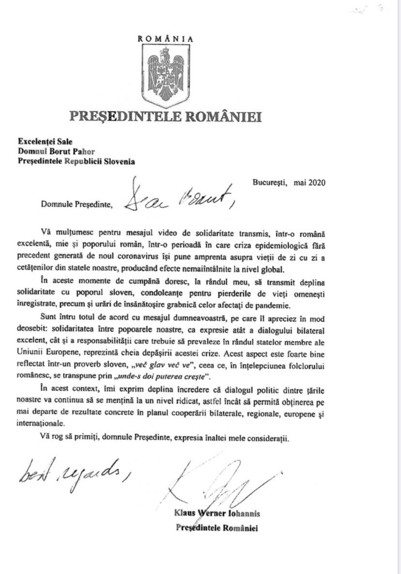 Prisrčen odziv romunskega predsednika Klausa Iohannisa mojo poslanico prijateljstva in solidarnosti. #friendship #Romania 🇷🇴 https://t.co/9gYHAT3GKD