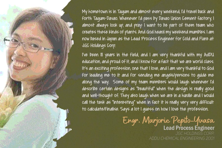 Engr. Marjorie Pepito-Yuasa Lead Process Engineer JGC Holdings Corp. Batch 2001