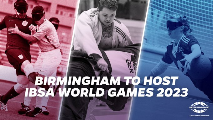 A graphic showing football judo and goalball three of the 11 sports that will feature at the 2023 IBSA World Games