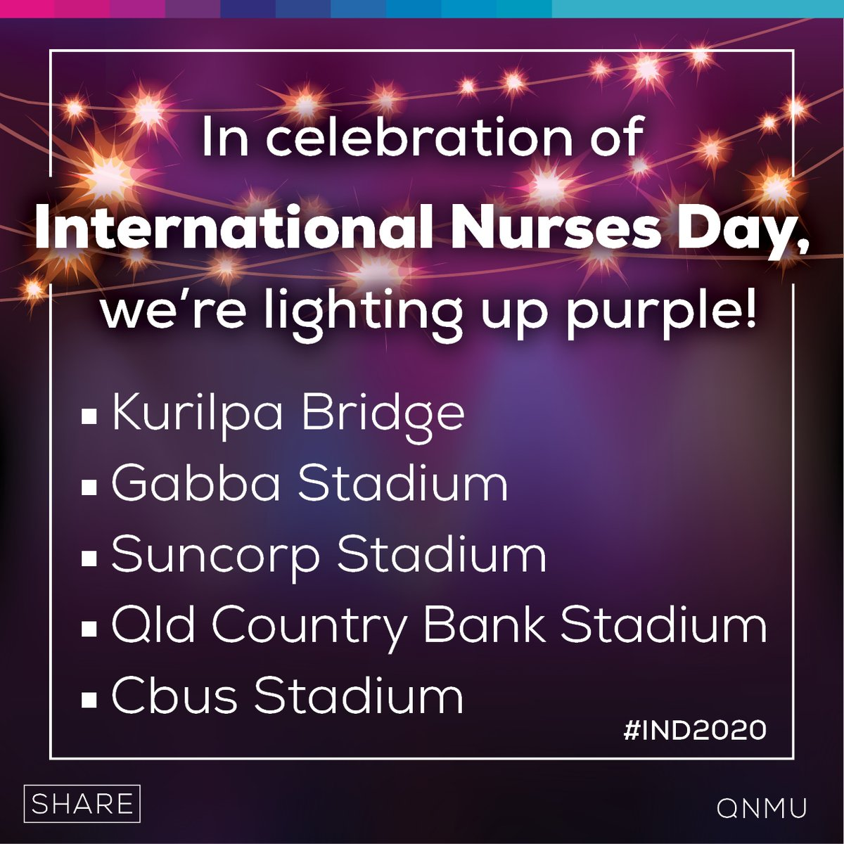 Excitingly, the QNMU has organised for various buildings to be lit up in purple tomorrow in celebration of our day International Nurses Day #IND2020. 💜 📸 If youre out and about, snap a pic with the bridge or stadiums in their purple glory and share it with us!