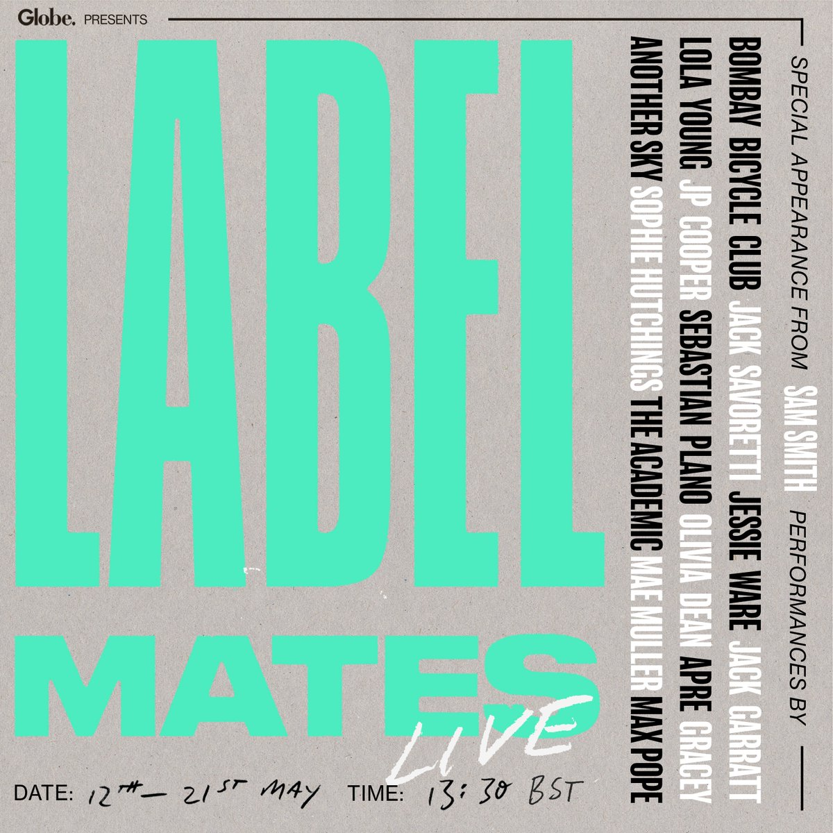 Check out @UMusicGlobeUK's LabelMates lineup! Weekdays between 12th-21st May, watch as @samsmith @JessieWare @JackSavoretti @sebastianplano @BombayBicycle @nickmulveymusic & @polydorrecords headliner still to come introduce their LabelMates!👀🎉 https://t.co/ybeZbJZWsM