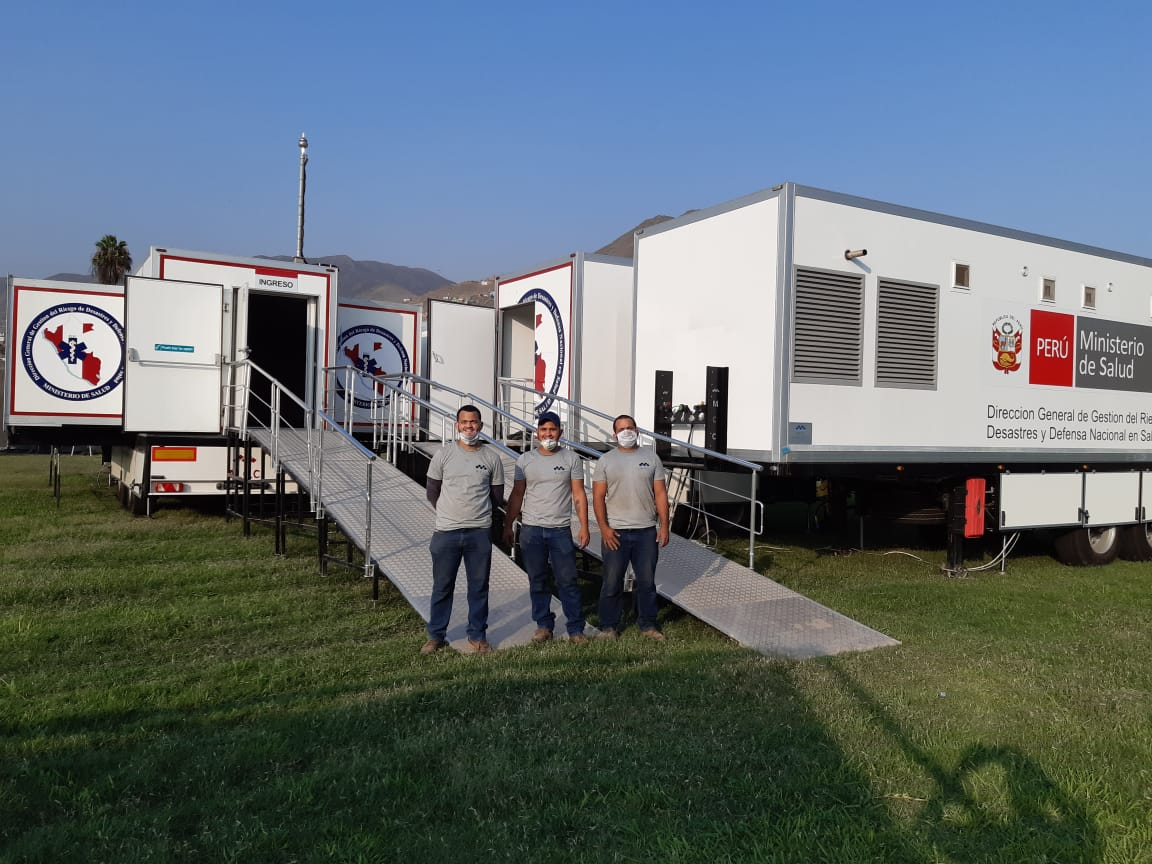 One of our new mobile hospitals was installed at the Stadium Ricardo Palma, Carabayllo in Lima. #mobilehospitals #UKIHMA #Peru #coronavirus https://t.co/WbGDztcRKh