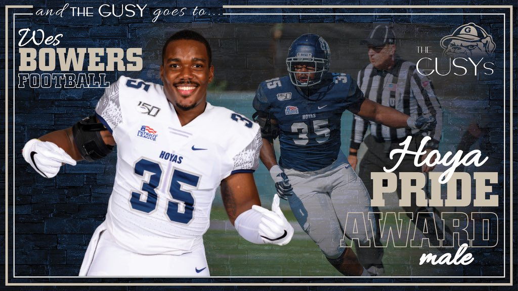 Congrats to Wes Bowers on receiving his 2nd-straight Hoya Pride award!! Proud to have Wes as a team captain and wearing our #35. No one is more deserving! #HoyaSaxa #DefendtheDistrict #SISU