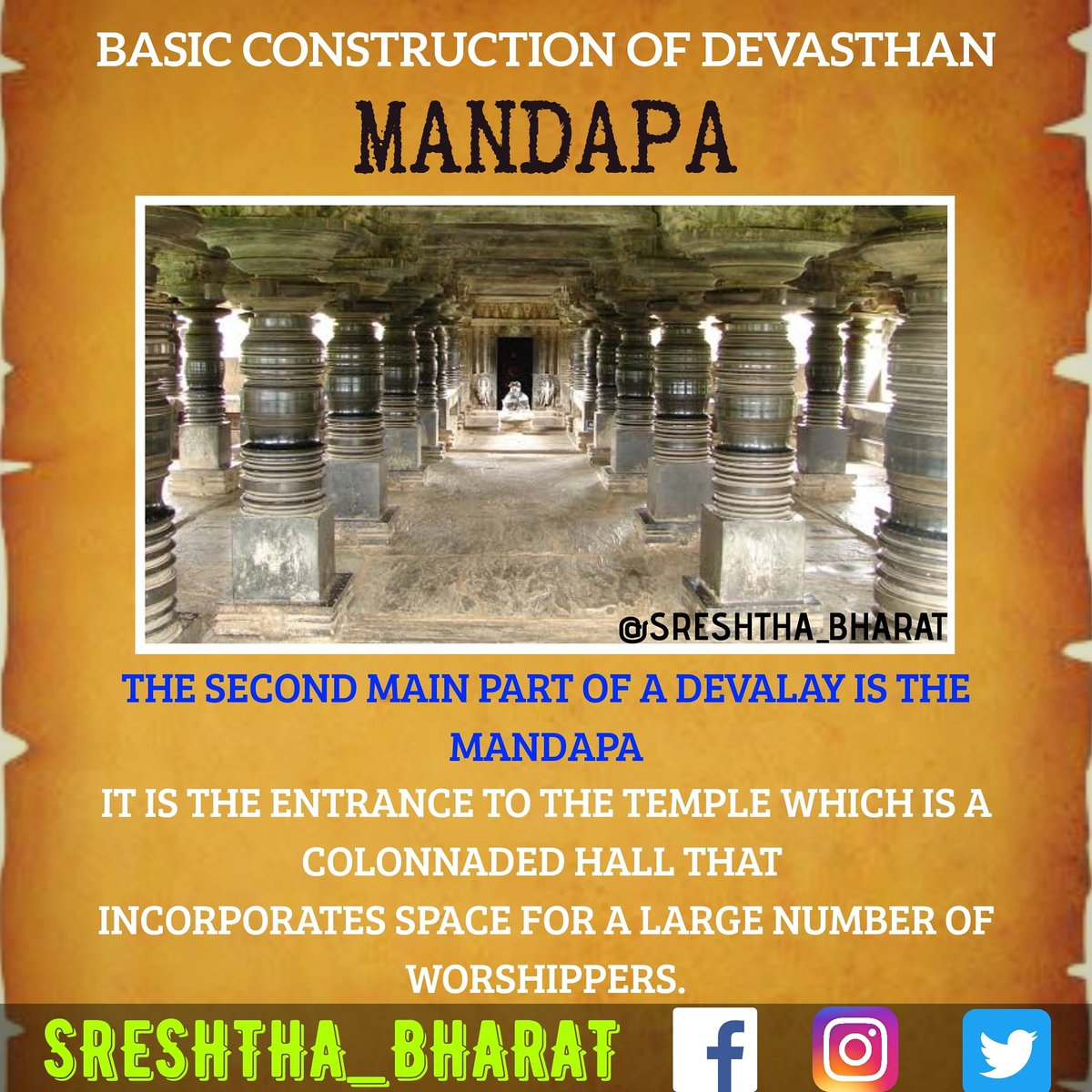 #temple_architecture  We will be getting closer to the Great Temple Architecture of our Sreshtha Bharat  Follow @Sreshthabharat on Facebook | Instagram | Twitter 🙏  #indianculture #indianarchitecture #hinduarchitecture #temple  #worship #templeworship #dravida #mandir #devasthan https://t.co/UNm2i7kEBJ