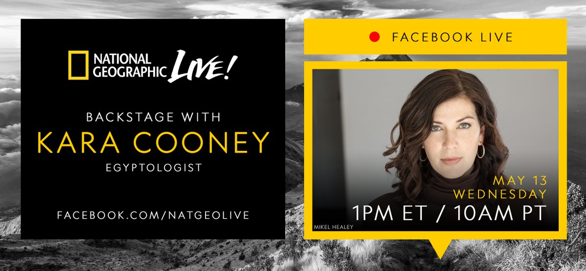 Join us Wed 5/13 as we go #backstage with Egyptologist @KaraCooney at 1pm ET / 10am PT on https://t.co/cmOMRBhXZx https://t.co/nEZY7h0jFB