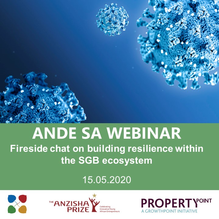 Five more days until the start of the @AspenANDE SA Webinar: Fireside chat with @ShawnTheunissen of @PropPoint and Melissa Mbazo of @anzishaprize on building resilience within the SGB Ecosystem during COVID- 19. 15/05 https://t.co/1qfGhOvM8y https://t.co/zikofJSYiW