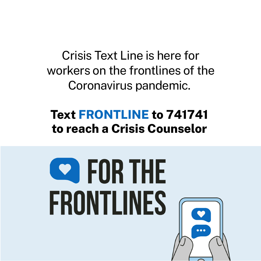 Workers on the frontlines of the #coronavirus deserve support. Crisis counseling is available free, 24/7 #ForTheFrontlines. Text FRONTLINE to 741741. https://t.co/LPa9GKyZlN